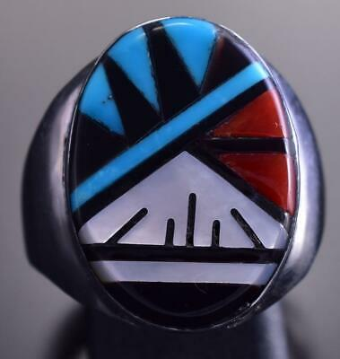 Size 10-1/2 Silver & Turquoise Multistone Zuni Inlay Men's Ring by L. Lamy 9C29Z