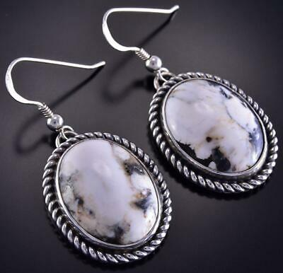 Silver & White Buffalo Turquoise Rope Border Navajo Earrings Erick Begay ZL10L