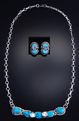 Silver & Turquoise Snake Necklace & Earring Set by Effie Calavaza 7H15B
