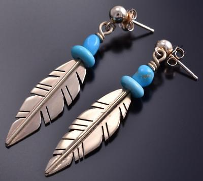 14k Gold & Turquoise Feather Earrings by Erick Begay 8C12F