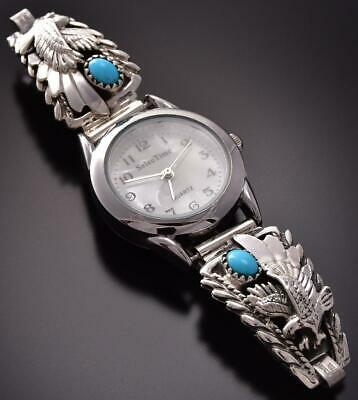 Silver & Turquoise Eagles Navajo Women's Watch by Genevieve Francisco ZA22X