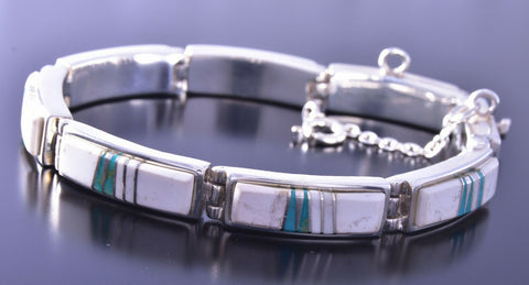 Silver & White Buffalo Turquoise Inlay Link Bracelet by Adlina Lee 9M16O