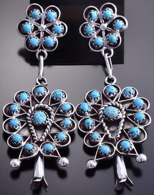 Silver & Turquoise Zuni Petty Point Dangle Earrings by Labar James 8G09E