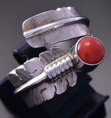 Adjustable Size 7-9 Silver & Coral Feather Wrap Ring by David Kuticka 9L01V