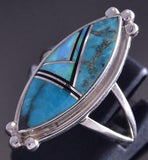 Size 8 Silver & Turquoise Multistone Navajo Marquis Ring by Kenneth Bitsie ZG17W