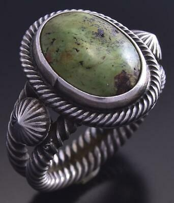Size 5-3/4 Silver & Gaspeite Navajo Concho Ring by Erick Begay 9K17L