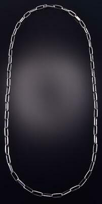 "23"" All Silver Navajo Handmade Paper Clip Necklace Chain Sally Shurley ZJ17R"