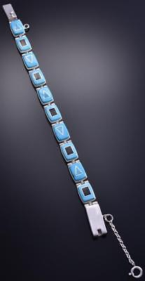 Silver & Two Turquoise w/ Jet Navajo Inlay Link Bracelet by TG 8D04S