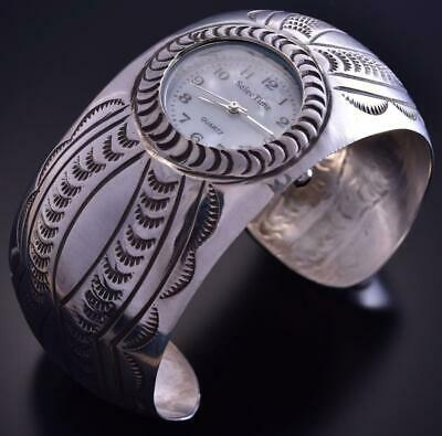 All Silver Navajo Concho Handstamp Domed Watch Bracelet Carson Blackgoat ZG24T