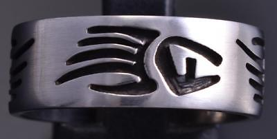 Size 9 All Silver Strength Bear Paw Open Design Ringband by Sonny Gene 8E08U