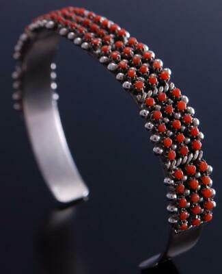Silver Coral Cluster Petty Point Zuni Bracelet by April Haloo 6L02H