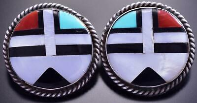 Vintage Silver & Turquoise Multistone Zuni Inlay Sunface Earrings 9A31L