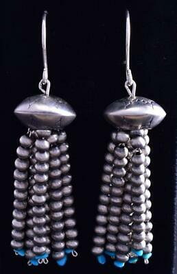 Silver & Turquoise Tassel Navajo Pearls Earrings by Jan Mariano 9B26U
