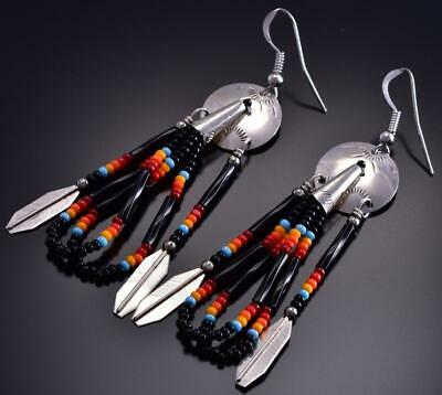 Silver Beaded Black Navajo Shield & Feathers Earrings by Juanita Manygoats 9B28L