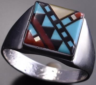 Size 10-1/2 Zuni Inlay Men's Ring by Herbert Kallestewa 8I01A