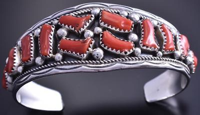 Vintage Silver Mediterranean Coral Wide Center Navajo Bracelet by IC 7L29D