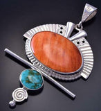 Silver & Turquoise & Spiny Oyster Shell Sunrise Navajo Pendant Ray Tracey 9L01F