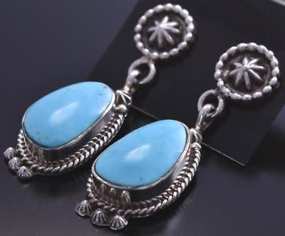 Silver & Turquoise Three Concho Bottom Dangle Earrings by Etta Larry 8E23S