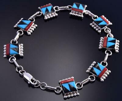 Silver and Multistone Link Bracelet by Tyrone Martinez 9K07P