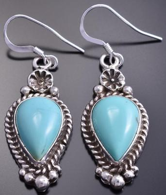 Silver & Turquoise Navajo Concho Top Handmade Earrings by BKF 8G10Q