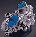 Sz 9-3/4 Silver & Turquoise Flowers Feathers Navajo Ring Harry B. Yazzie ZG17Q