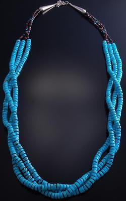 "35"" Three Strand Smooth Edge Turquoise Beaded Necklace 7C10H"