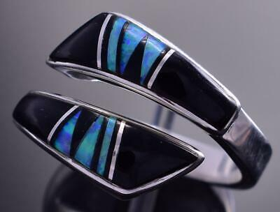 Adjustable Silver & Jet & Opal Navajo Inlay Wrap Ring by JB 9C29B