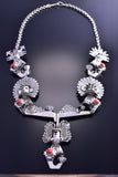 Collectible Silver & Coral Hopi Kiva Dwelling Necklace Alvin Vandever C1915R