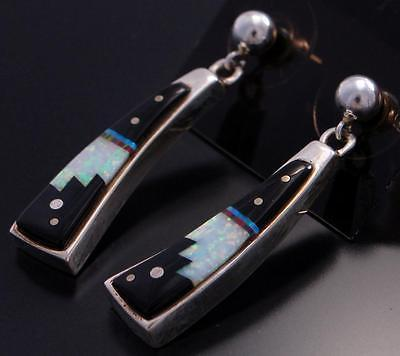 Silver Multistone Navajo Inlay Jet Dangle Earrings by Eugene Chee 7D25D