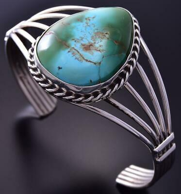 Silver & Royston Turquoise Tear Drop Navajo Bracelet by Betta Lee ZA28G