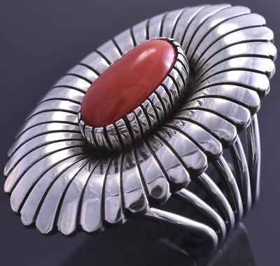 Size 9 Silver & Coral Navajo Handstamp Flower Ring by MB 8F18L