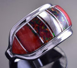 Size 7 Silver & Spiny Oyster Shell & Opal Navajo Inlay Ring Cathy Webster 9C29J