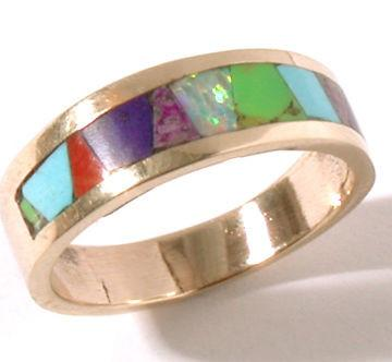ZBM  14K Gold Inlay Band Ring By Erick Begay CD50C