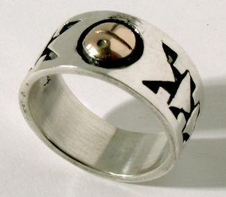 ZBM  Silver and Gold Sunface Ring By Erick Begay CD60A