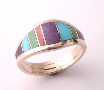 ZBM  Turquoise Coral Sugilite Inlay Ladies Ring  14k Gold  By Erick Begay CD60D