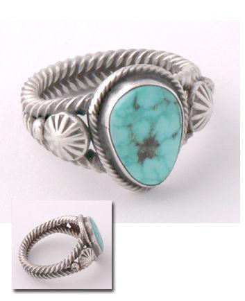 ZBM Turquoise Ring Old Style Handmade by Erick Begay CD60B
