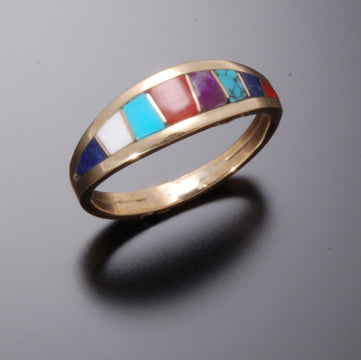 ZBM MULTISTONE INLAY GOLD RING by Erick Begay