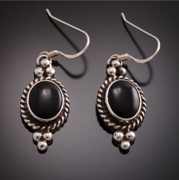 Dangle Black Onyx and Silver Earrings By Erick Begay