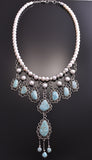"31"" Silver & #8 Spiderweb Turquoise Pearl Three Tier Necklace Erick Begay 8K16A"