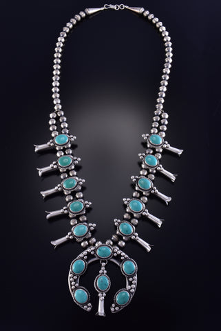 "25"" Silver & Turquoise Navajo Squash Blossom Necklace by Erick Begay 1C16B"