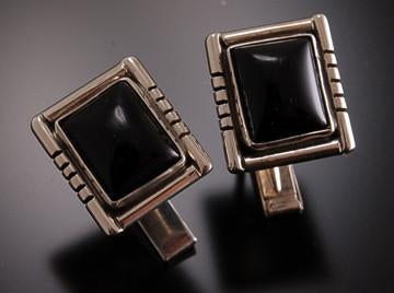 Black Onyx Cufflink by Erick Begay  6L12A