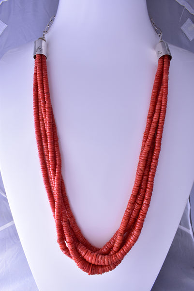 Vintage Silver & Coral Santo Domingo Necklace by Kenneth Aguilar C1915G
