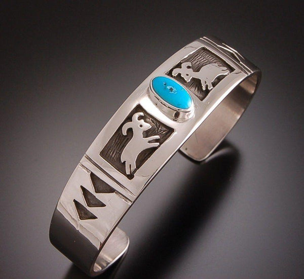 ZBM  Bighorn Sheep Bracelet Turquoise By Erick Begay  Petroglyph Bighorn sheep TO51C1