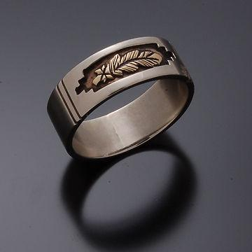 14K Gold Eagle Feather Ring. A Silver Ring by Erick Begay CD50B