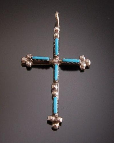 Turquoise Inlay Cross Pendant ~ Zuni Handmade GENUINE TURQUOISE SILVER TO11O