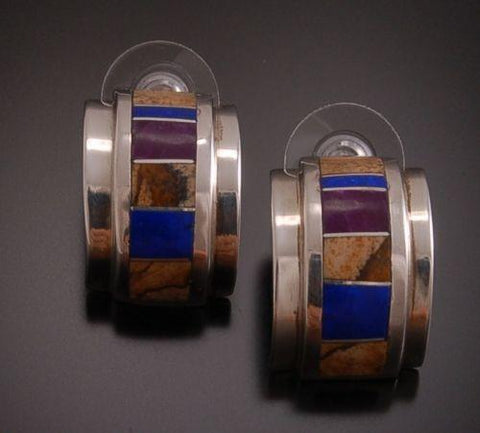 ZBM Lapis and Picture Jasper Half Hoops Earrings by Erick Begay TO91W