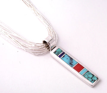 ZBM  Multistone Inlaid Bar Pendant By Erick Begay NK6