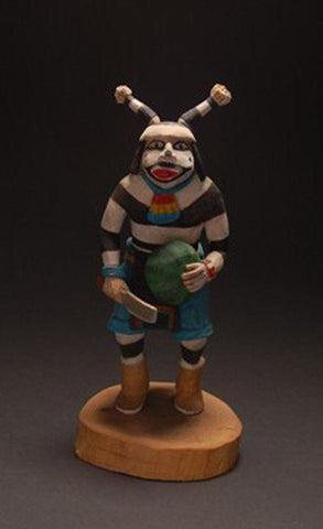 Hopi Koyala or Koshari Kachina Doll ~ very nice Carving ~ 9 inches tall TO91F