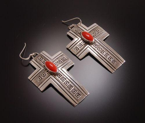 ZBM Stunning Silver Stamped Cross Earrings with Coral by Erick Begay TO81D