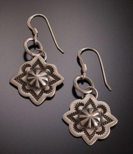 Wonderful Silver Stamped CONCHO  Shield Earrings by Erick Begay TO31X